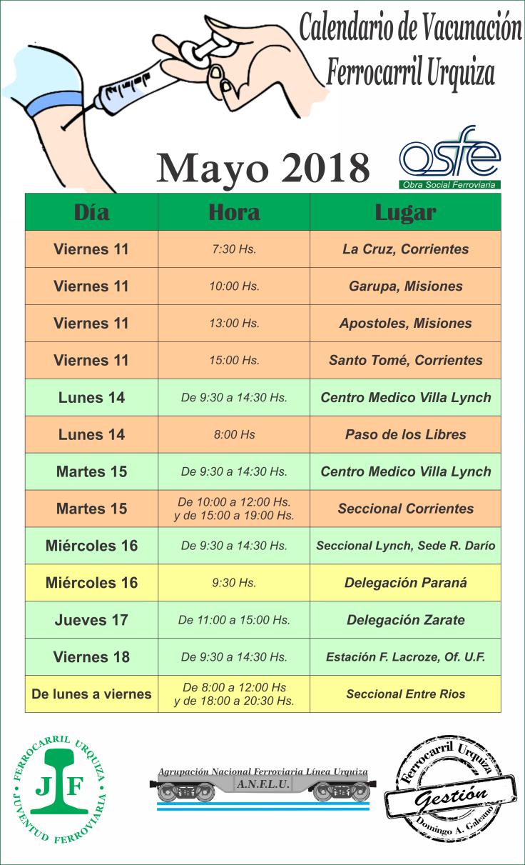 Calendario vacunacion 2018